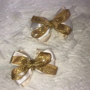 White and Gold Barrettes